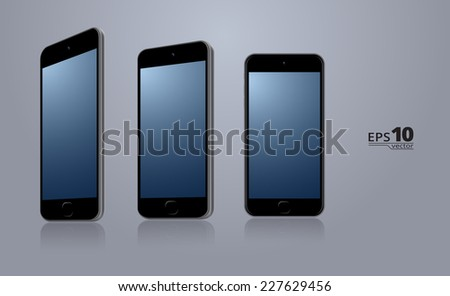 Modern smartphone in 3 different angles. Scalable vector illustration - stock vector