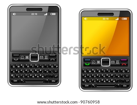 Modern smartphone with abstract design isolated on white background. Jpeg version also available in gallery - stock vector