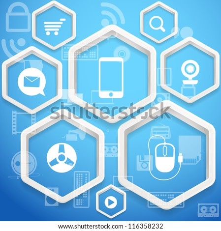 Modern social media abstract scheme with polygonal frames - stock vector