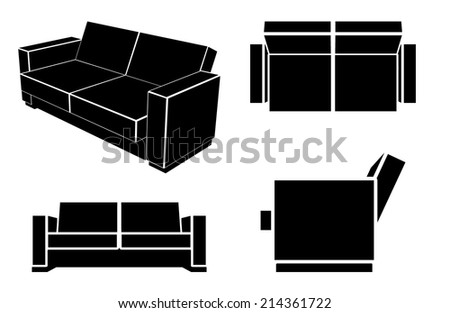 Modern Sofa Couch, Different Views, Vector Illustration. - stock vector