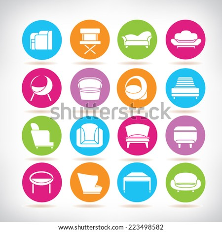 modern sofa icons, couches furniture icons, colorful circle buttons set - stock vector