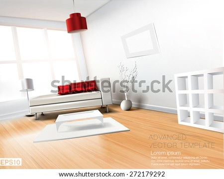 Modern spacious living room with white leather sofa and red pillows. High quality vector template - stock vector
