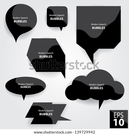 Modern Speech Bubbles Black Glossy Style - stock vector