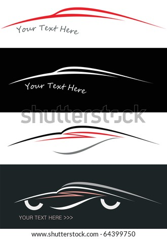 Modern sport car. Stylized vector illustration on black and white background. Emblem, isolated design element. - stock vector