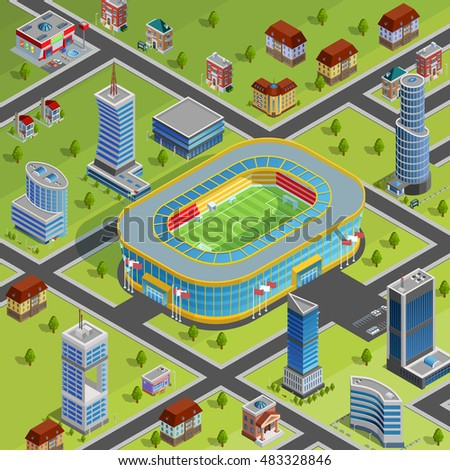 Modern sport complex stadium facility for games championships competitions in city center environment isometric poster vector illustration
