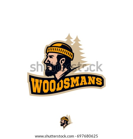 Modern sport logo template with the image of the bearded man in hat woodsman