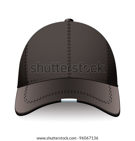 Modern sports or baseball cap in black with advert space - stock vector
