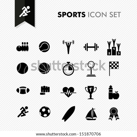 Modern sports workout and exercise icon set. Vector file layered for easy editing. - stock vector