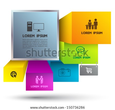Modern squere infographics menu banner. Vector illustration. can be used for workflow layout, diagram, step options, web design, object for printing - stock vector