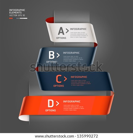 Modern step up options ribbon style. Vector illustration. can be used for workflow layout, diagram, number options, step up options, banner, web design, infographics template. - stock vector