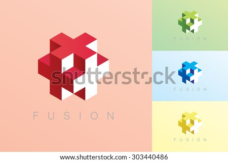 Modern style cube vector in red, blue, green and yellow color with Fusion text. - stock vector