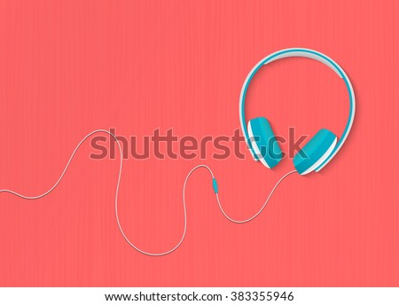 Modern style headphones on the red orange background. Vector illustration. Headphones concept, Headphones illustration, Headphones image, Headphones bright colors, Headphones isolated. - stock vector