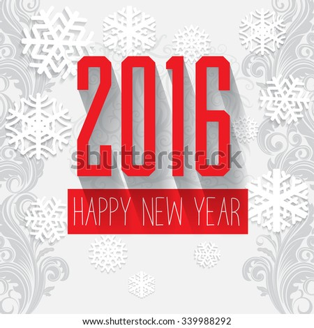 Modern style red gray white color scheme new year greetings card on white background with gray swirls and white snowflake with  shadows. Flat design element. Bright mood. 2016 new year greeting  - stock vector