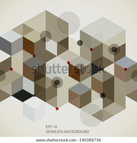 Modern style seamless pattern with horizontal elements, 3d geometric vector background. - stock vector