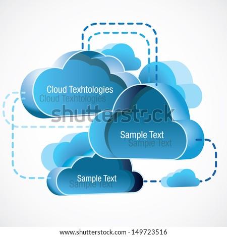 modern stylish cloud computing background - stock vector