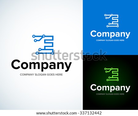 Modern stylish logo with letter E. Business Technology vector logotype design template. Creative concept icon. Corporate company identity. - stock vector