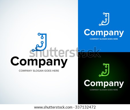Modern stylish logo with letter J. Business Technology vector logotype design template. Creative concept icon. Corporate company identity. - stock vector