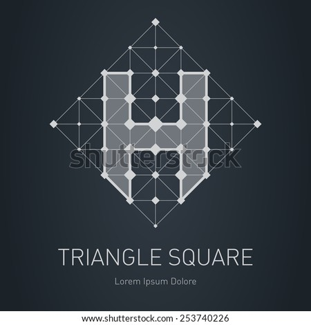 Modern stylish low poly logo with letter H. Low-poly Design element with squares, triangles and rhombus. Vector Lowpoly logotype template. - stock vector