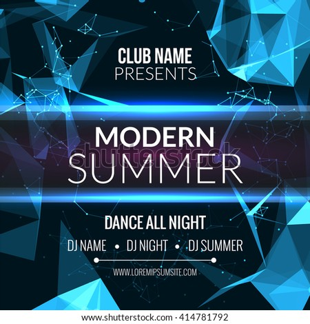 Modern Summer Club Music Party Template, Dance Party Flyer, brochure. Night Party Club sound Banner Poster - stock vector