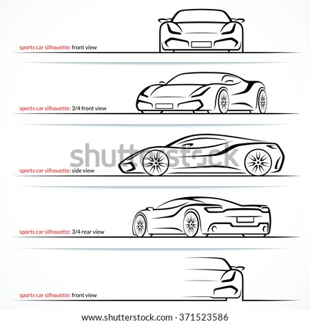 Modern super car, sports car vector silhouettes, outlines, contours isolated on white background. Front, rear and side views. - stock vector