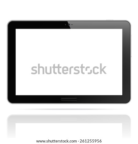 Modern tablet pc computer isolated on white background. Blank screen. Realistic vector illustration - stock vector