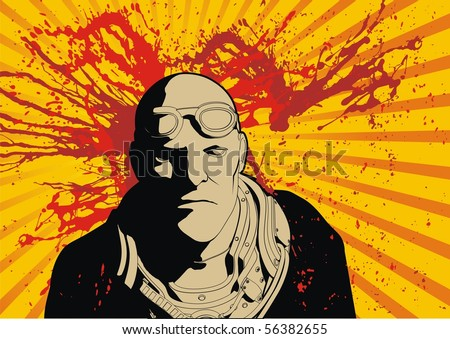 Modern tactical mercenary soldier vector with blood splatter.