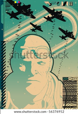 Modern tactical mercenary soldier with bomber background. - stock vector