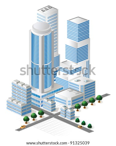 Modern tall skyscraper in the city quarter with cafes, restaurants and residential apartments. Use for illustrations element, and business cards, real estate agencies and construction companies.