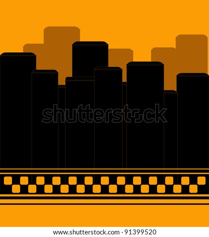 modern taxi background with skyscraper symbol night taxi - stock vector