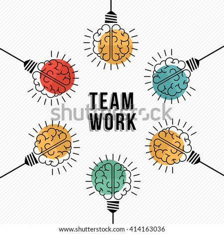 Modern teamwork concept design, colorful human brains in light bulb lamps working together as business team. EPS10 vector. - stock vector