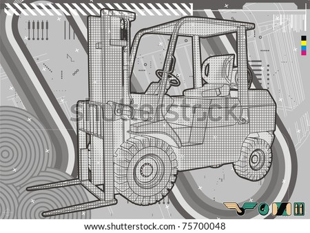 Modern technical illustration of a generic forklift. - stock vector