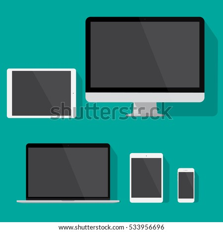 modern technology device flat design vector drawing minimalist style