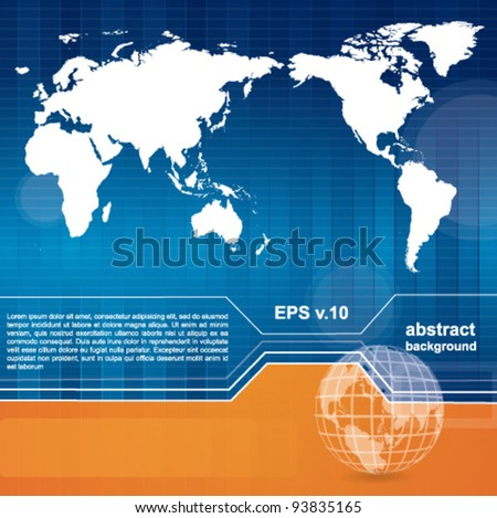 Modern technology or business background with map and abstract elements - stock vector