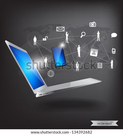 Modern technology thin laptop with social network. Vector Illustration. - stock vector