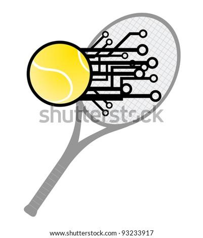 Modern tennis hit - stock vector