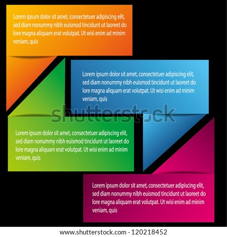 Modern Text Box with four color - stock vector