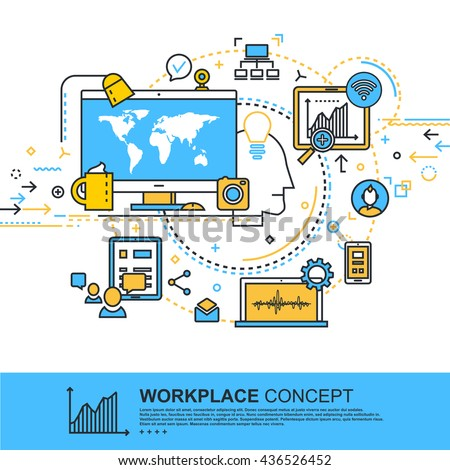 Modern Thin Contour Line Design Concept of Workplace Concept.  Banner for application development, web and mobile application technologies,  information and social media. Vector illustration