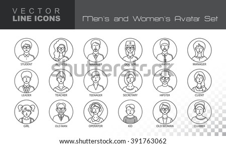 Modern Thin Contour Line Icons set of people avatars.  Man`s and Women`s characters staff pictogram.  Stroke Logo Concept for web and mobile application, isolated on transparent background. Vector