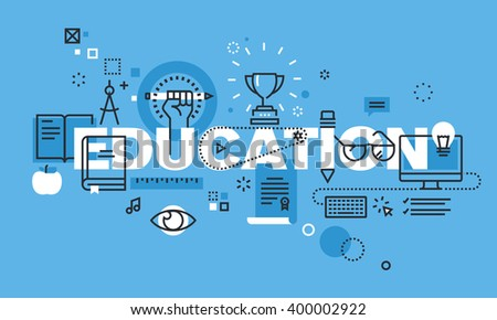 Modern thin line design concept for EDUCATION website banner. Vector illustration concept for school, college and university, education. - stock vector