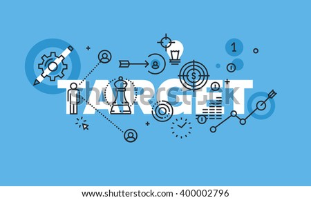 Modern thin line design concept for TARGET website banner. Vector illustration concept for business strategy and planning, marketing, business development.