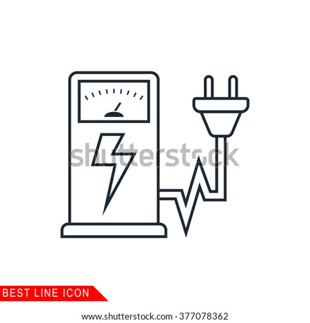Modern thin line icon of Electric car charging station. Premium quality outline symbol. Simple mono linear pictogram, drawing, art, sign. Stroke vector logo concept for web graphics. JPEG, JPG, EPS,  - stock vector