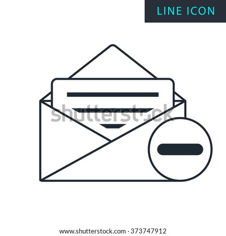 Modern thin line icon of remove mail. Premium quality outline symbol. Simple mono linear pictogram, drawing, art, sign. Stroke vector logo concept for web graphics.  - stock vector