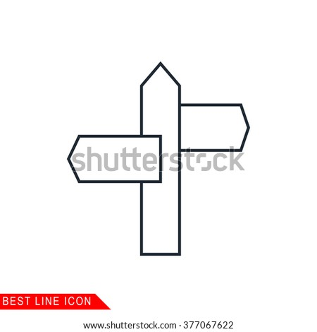 Modern thin line icon of signpost. Premium quality outline symbol. Simple mono linear pictogram, drawing, art, sign. Stroke vector logo concept for web graphics.  - stock vector