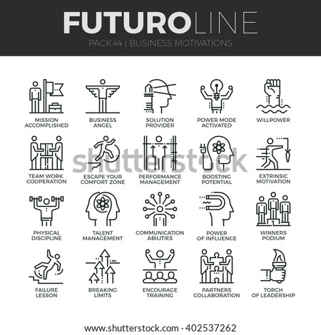 Modern thin line icons set of business discipline, performance and leadership. Premium quality outline symbol collection. Simple mono linear pictogram pack. Stroke vector logo concept for web graphics - stock vector