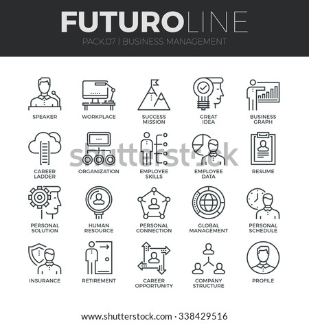Modern thin line icons set of business people management, employee organization. Premium quality outline symbol collection. Simple mono linear pictogram pack. Stroke vector logo concept, web graphics. - stock vector