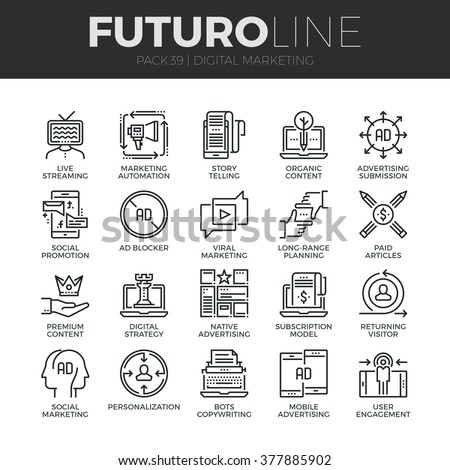 Modern thin line icons set of digital marketing, live streaming and advertising. Premium quality outline symbol collection. Simple mono linear pictogram pack. Stroke vector logo concept, web graphics. - stock vector