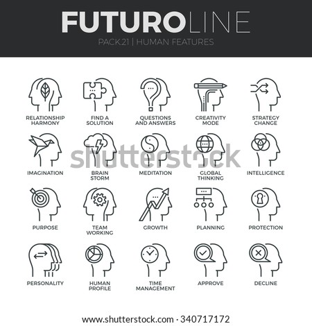 Modern thin line icons set of human mind features, characters profile identity. Premium quality outline symbol collection. Simple mono linear pictogram pack. Stroke vector logo concept for web graphic - stock vector
