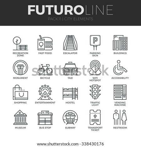 Modern thin line icons set of various city elements, street transportation sign. Premium quality outline symbol collection. Simple mono linear pictogram pack. Stroke vector logo concept, web graphics. - stock vector