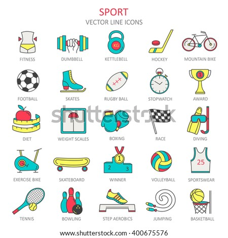 Modern thin line of icons on sports themes. High quality vector logos. The concept in the style of flat design. - stock vector