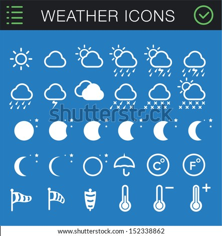 Modern Thin Weather Icons Set - 30 icons  - stock vector